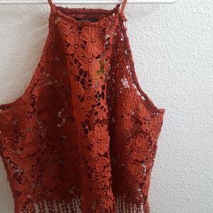 Tops - Lace Halter Crop Top